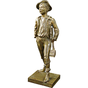 French Bronze Sculpture School Boy by Marcel Debut - circa 1920's, France
