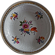 Swansea Porcelain Large Shallow Bowl Floral Bouquet White Molding - c. 1820, Wales