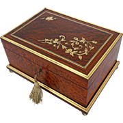 Birds Eye Maple Jewelry Casket Bronze Inlay Silk Fitted Interior Removable Tray - 19th Century, France
