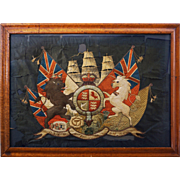Embroidered Royal Coat of Arms United Kingdom Lion, Unicorn, Flags, Sails, Glass Eyes, Birds Eye Maple Frame - circa first half 19th Century, England