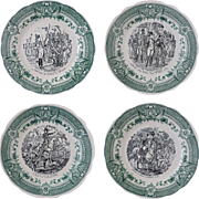 Sarreguemines Napoleon Transferware Plates Faience - 20th Century, France