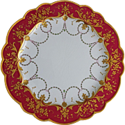 Antique Royal Worcester Red Gold Encrusted Swag Cabinet Plate - 1902, England