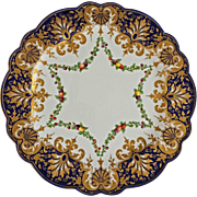 Antique Royal Worcester Cobalt Blue Gold Encrusted Swag Cabinet Plate - 1902, England