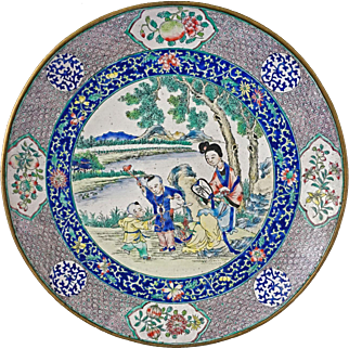 18th C. Boys at Play Famille Rose Chinese Canton Enamel on Copper Alloy Quianlong Period Dish / Plate - 18th Century, China