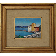 Pietra Dura Mosaic Landscape Picture Framed - 20th Century, Italy
