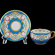 Antique Minton Bleu Celeste / Bright Turquoise Porcelain Cabinet Cup & Saucer Gilt Enamel Roses G9098 - Pre 1902, England
