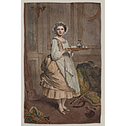 "Engraving Pretty French Maid Lisette by Masson after Chaplin ""After the Ball"" - c. 19th Century, France"