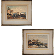 Pair Romantic Style Orientalist Landscape Village French Foreign Legion Souaves Spain Color Lithographs Antique Palms Print