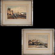 Pair Romantic Style Orientalist Landscape Village French Foreign Legion Souaves Spain Color Lithographs Antique Palms Print