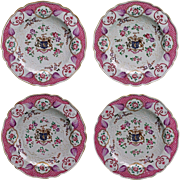 Set 4 Samson Armorial Porcelain Plates Puce Floral Coat of Arms Shield
