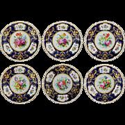 Set 6 Gilman Collamore Cobalt Floral Porcelain Plates - circa 1890 to 1920, England
