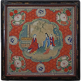 Antique Chinese Gouache Painting Three Figures Framed - Qing Dinasty, China