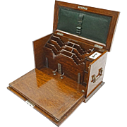 Gentleman's Oak Writing Travel Box / Stationery Compartments / Leather Writing Surface with Key - c. 1890, England