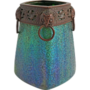 Secessionist Iridescent Art Glass Vase Metal / Bronze / Copper Mount Frit Decor Striped Blue Green Large Square Shape - c. 1900, Austria / Bohemia