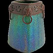Secessionist Iridescent Art Glass Vase Metal / Bronze / Copper Mount Frit Decor Striped Blue Green Large Square Shape - c. 1900, Austria / Bohemia