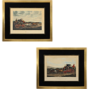 Pair English Carriage Equestrian Aquatint Engravings Fores Coaching Recollections Papprill after Henderson Eglomise Mats Framed Horses - 19th Century, England