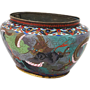Japanese Cloisonne Planter Jardiniere with Liner Oval Large Dragons Decoration - circa 20th Century, Japan