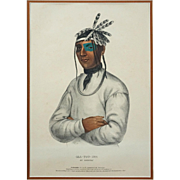 Native American Color Lithograph History of the Indian Tribes of North America Caa-Tou-See An Ojibway Large - 19th Century, USA