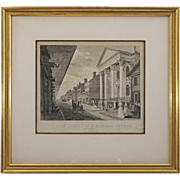 Birch's Views of Philadelphia Etching First Street, with the First Presbyterian Church Architectural Americana - circa 1860, USA