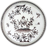 French Rouen Faience Grotesque Decor Jester Platter / Tray Manganese - 20th Century, France