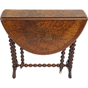 Burl Walnut Top Small Gateleg Drop Leaf Table Barley Twist Legs Wheels Casters - c. late 19th Century, England