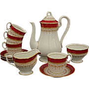 Royal Worcester Coffee Set Pot Cream Open Sugar 4 Demitasse Cup Saucers Regency Pattern Ruby Red - 20th Century, England