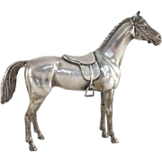 English Saddle Horse Figure Silver Plate