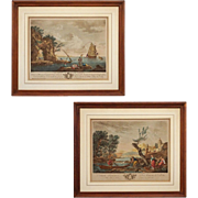 Pair Engravings d'apres Vernet Le Choix du Poisson and 2de. Vue du Levant
