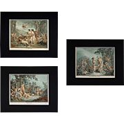 18th Century French Aquatint Etchings Demarteau d'apres Huet, Seasons, Spring, Summer, Winter ( set of 3 ) - circa 1785, France