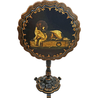 Papier Mache Dog Decor Tilt-top Tea Table Victorian English Antique - c. 19th Century, England