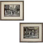 Pair Neyret Freres Courting Scenes d'apres Mariano Alonso Perez Woven Artistic Ribbon Pictures Jacquard Stevengraph Framed - France