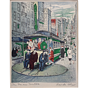 San Francisco Cable Car Turntable Color Lithograph Signed Rosinda Holmes Architectural Americana - c. 1940-50's, USA