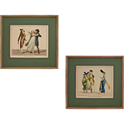 Pair French Satirical Prints Directoire Fashion Costume Framed - 20th Century, France