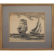 Lithograph Sailing Vessels at Sea Signed in Pencil Gordon Grant - 20th Century, USA