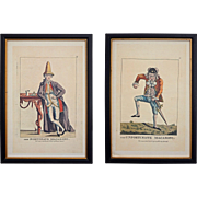 Pair Macaroni Caricature Prints The Fortunate and Unfortunate Maccaroni Framed after Darly