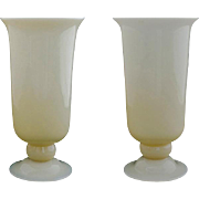 Pair Steuben Carder Art Deco Translucent Glass Footed Vases Shape 7316 Large - c. 1930, USA