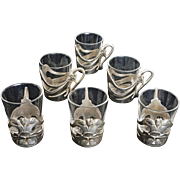 Set of Six ( 6 ) Art Nouveau Gallia Silver Plated Shot Glass Holders  - 1908 to 1929, France