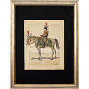 Napoleonic Signed JOB 1st Empire Military Lithograph Drummer Grenadiers Horseback Full Dress - circa 1920, France