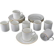 Set 8 Tiffanny & Co. Demitasse Expresso Cups Saucers Gilt White Staffordshire - 20th Century, Staffordshire