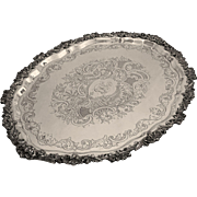 Large 26 Inch Gorham Oval Tray Grape Vine Border Silver Plated - 20th Century, USA