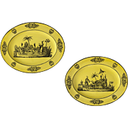 Pair Oval Mottahedeh Chinoiserie Yellow Black Large Transferware Plates - 20th Century, Italy