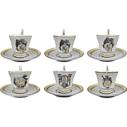 Set 6 Mottahedeh Creil Style Yellow Black Transferware Cups Saucers - 20th Century, Italy