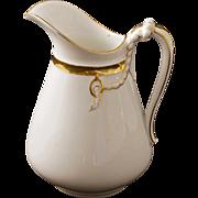 Haviland Limoges 16 Fl. Oz. Porcelain Pitcher white Gilt H&Co. English Registration Mark - 1891 to 1932, France