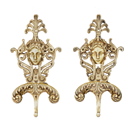Pair Figural Wall Hooks Hangers Mask Maiden Bronze - 20th Century, European