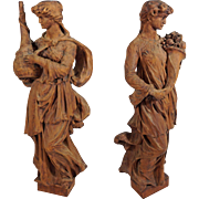 "Pair 28"" Caryatid / Corbel Carved Wood Figures Maidens Cornucopia Salvage"