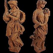 "Pair 28"" Caryatid / Corbel Carved Wood Figures Maidens Cornucopia Salvage"
