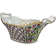 Herend 7431 Oval Pierced Reticulated Centerpiece Basket Rothschild Pattern - 20th Century, Hungary