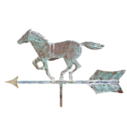 Horse Weathervane Full Bodied Copper Verdigris Patina with Directional Arrow