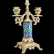 Longwy Faience Bronze Mount Two Light Candelabra / Candlestick - France