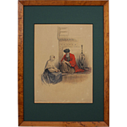 David Roberts The Letter Writer, Cairo Color Lithograph - 19th Century, England